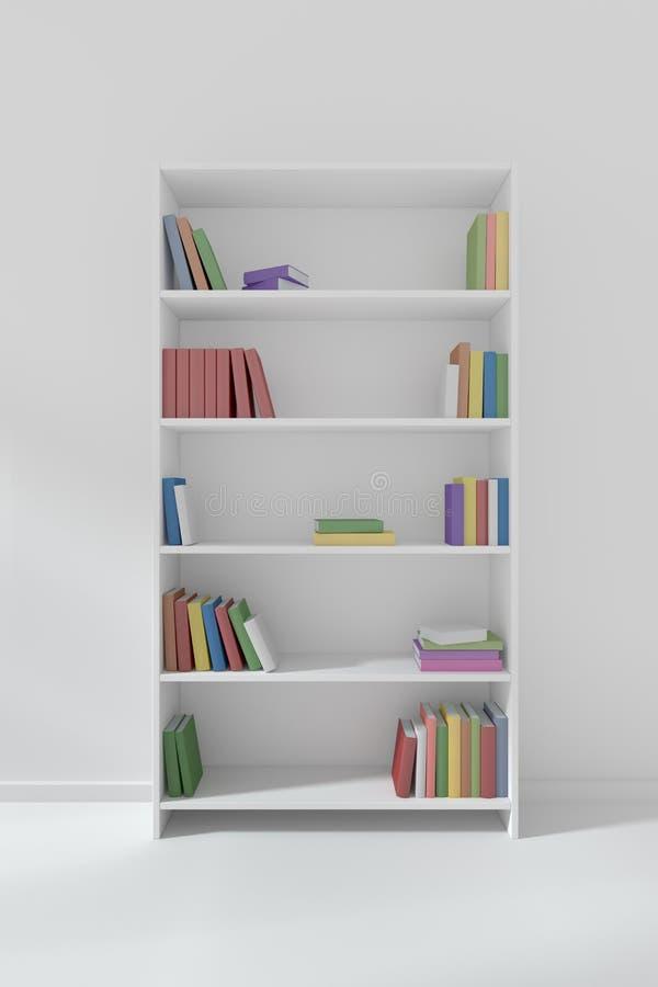 Vit bokhylla med många olika böcker stock illustrationer