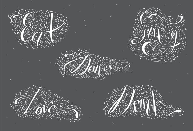 Vit bokstäver med ord dansar, dricker, äter, älskar, sjunger Dekorerat med den drog handen fodrar, virvlar runt och prickar Vekto stock illustrationer