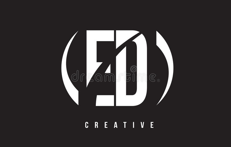 Vit bokstav Logo Design för ED E D med svart bakgrund royaltyfri illustrationer