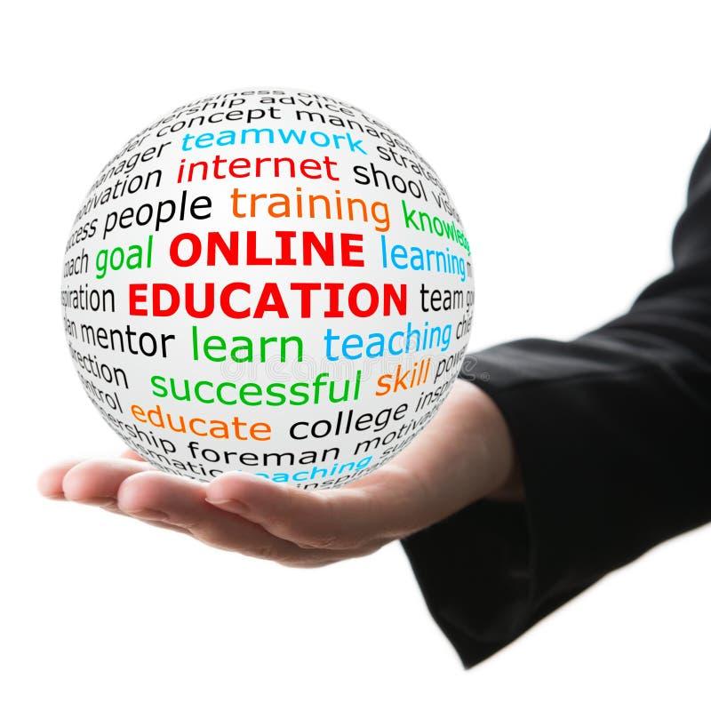 Vit boll för handtagande med online-utbildning för röd inskrift royaltyfri bild