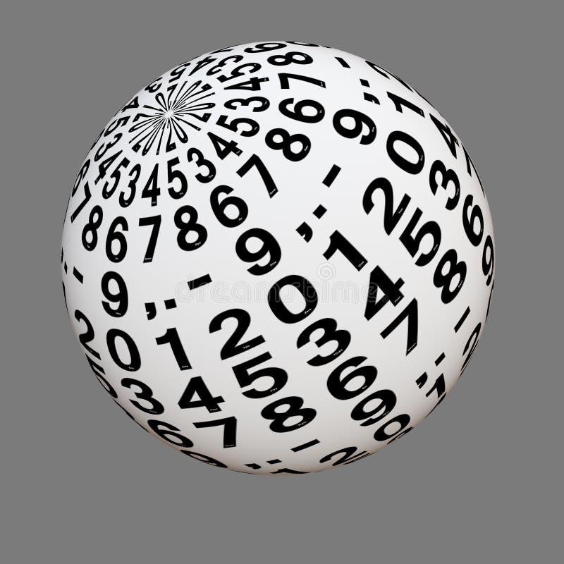 Vit boll med siffror från noll till nio stock illustrationer