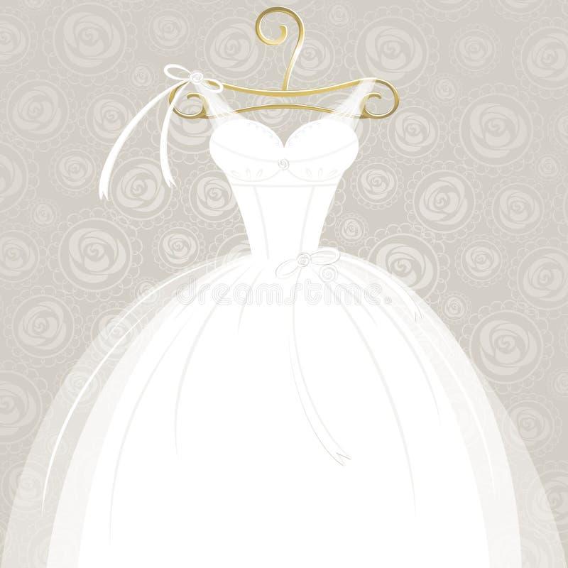 Vit bröllopkappa stock illustrationer