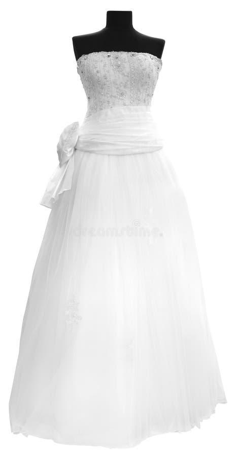 Vit bröllopsklänning royaltyfri fotografi