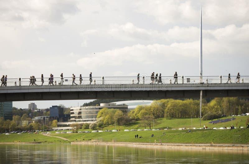 Vit bro i Vilnius, Litauen arkivfoto