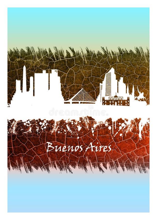 Vit Buenos Aires horisont som ?r bl? och royaltyfri illustrationer
