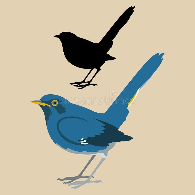 Vit-buktad svart för stil för lägenhet för illustration för Redstar fågelvektor royaltyfri illustrationer