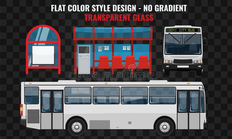 Vit buss Sida och Front View Kall modern plan designkollektivtrafik Hållplatsstruktur och stadsbuss vektor illustrationer