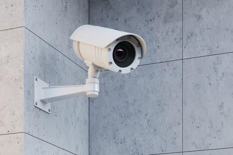 Vit CCTV-kamera på en grå vägg royaltyfri illustrationer