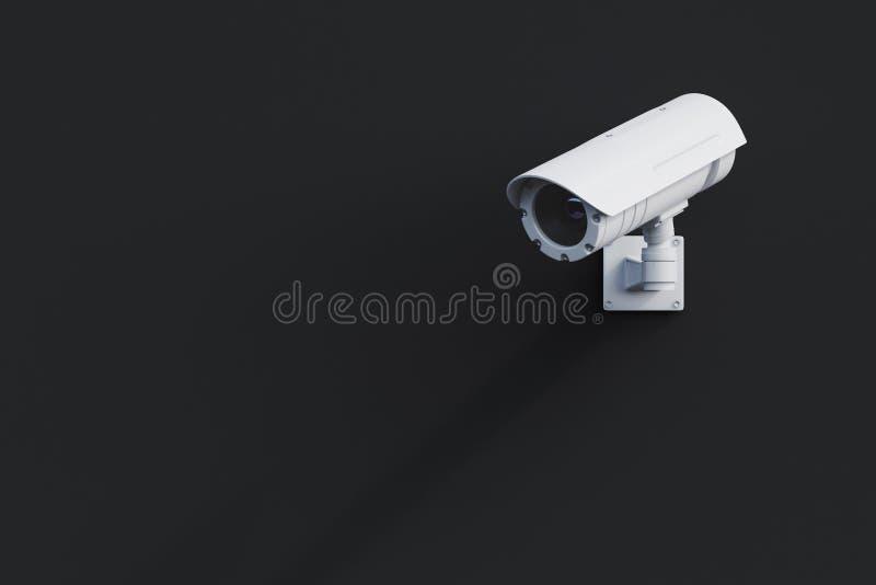 Vit CCTV-kamera på en svart vägg royaltyfri illustrationer
