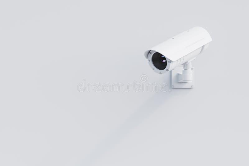 Vit CCTV-kamera på en vit vägg stock illustrationer