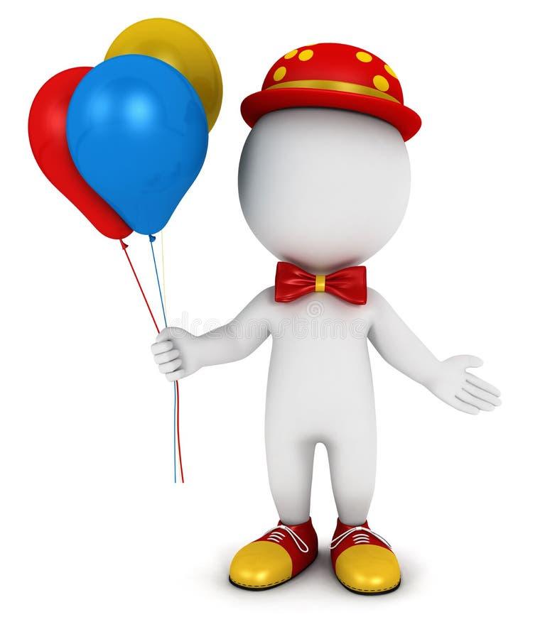 vit clown för folk 3d royaltyfri illustrationer
