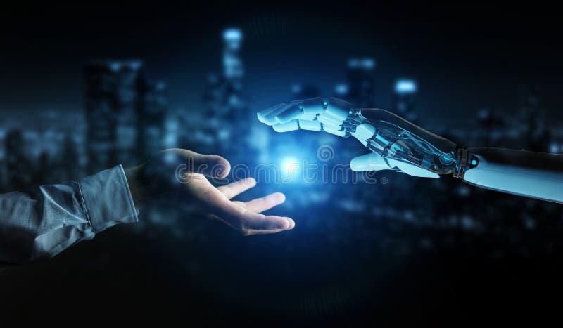Vit cyborghand omkring som trycker på den mänskliga tolkningen för hand 3D royaltyfri illustrationer