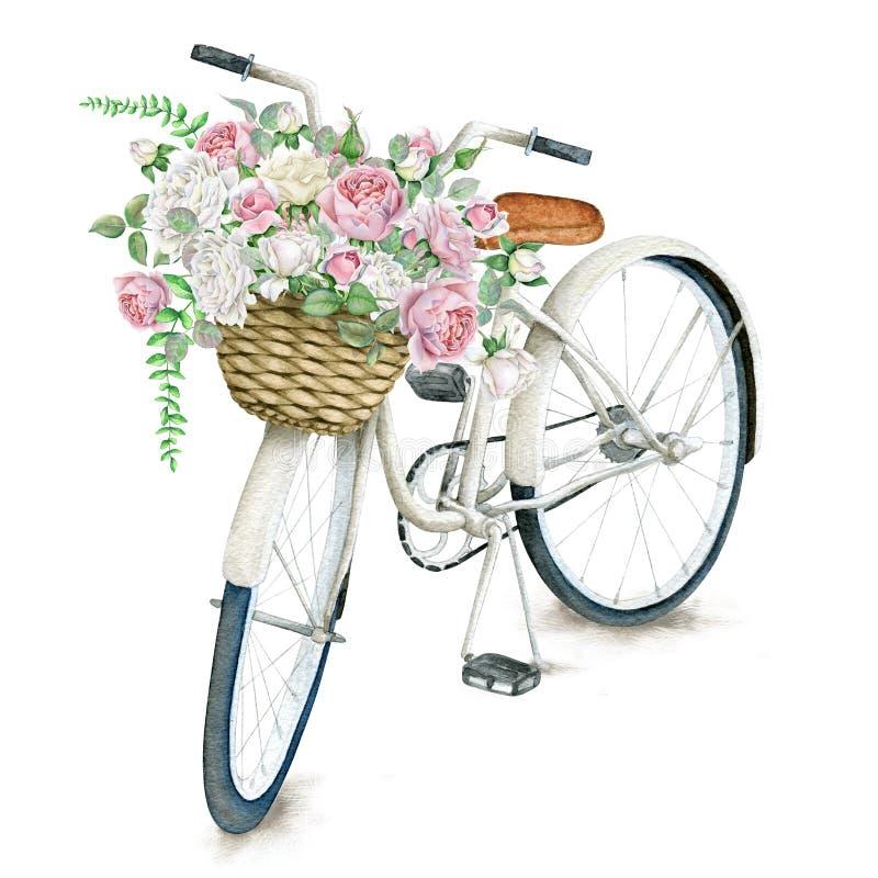 Vit cykel för vattenfärg med rosor stock illustrationer