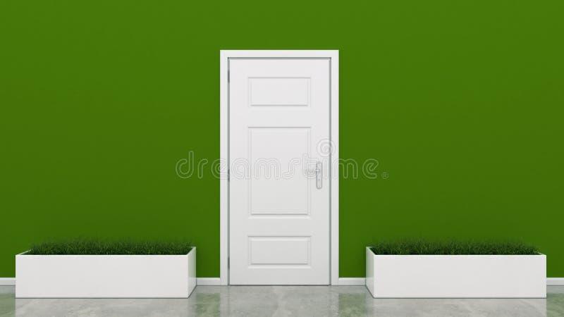 Vit dörr med gräs stock illustrationer