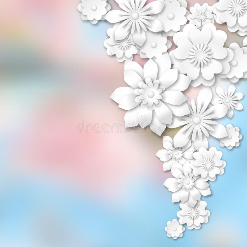 Vit 3d blommar på abstrakt suddig bakgrund stock illustrationer