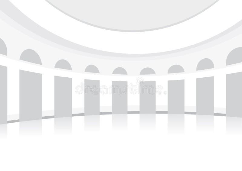 Vit danskorridor, rundat som är posh, bakgrund stock illustrationer