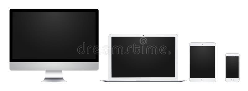 Vit datorskärm, bärbar dator, block och telefon med den tomma skärmen, för design, presentation, rengöringsduk, mobil stock illustrationer