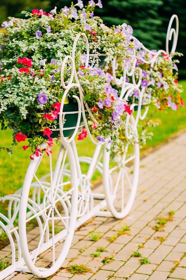 Vit dekorativ cykelparkering i trädgård fotografering för bildbyråer