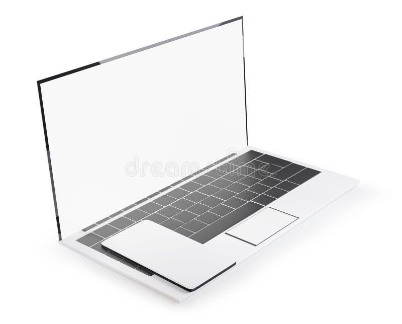 Vit design för för bärbar datordator och mobiltelefon 3d-illustration vektor illustrationer