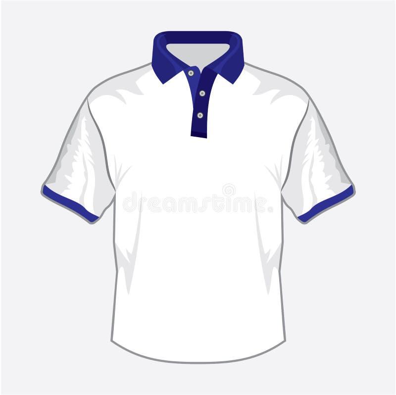 Vit design för poloskjorta med mörker - blå krage royaltyfri illustrationer