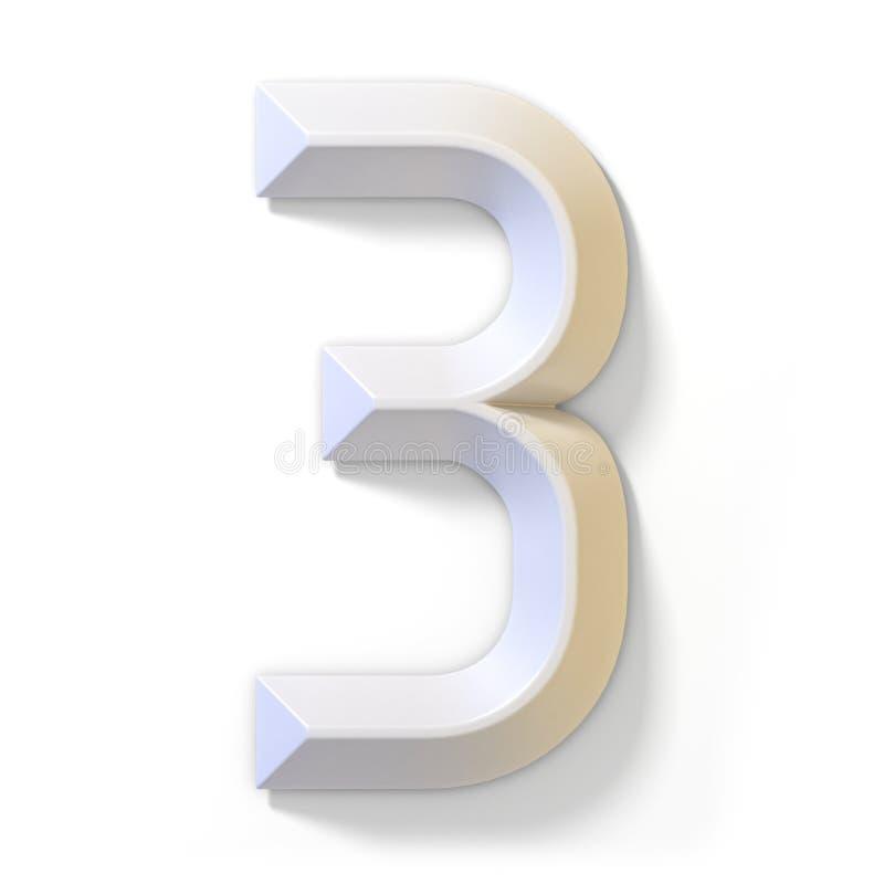 Vit dimensionell stilsort nummer 3 TRE 3D royaltyfri illustrationer