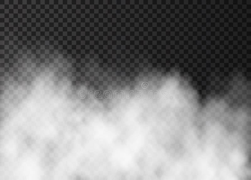 Vit dimma eller rök på mörk genomskinlig bakgrund vektor illustrationer