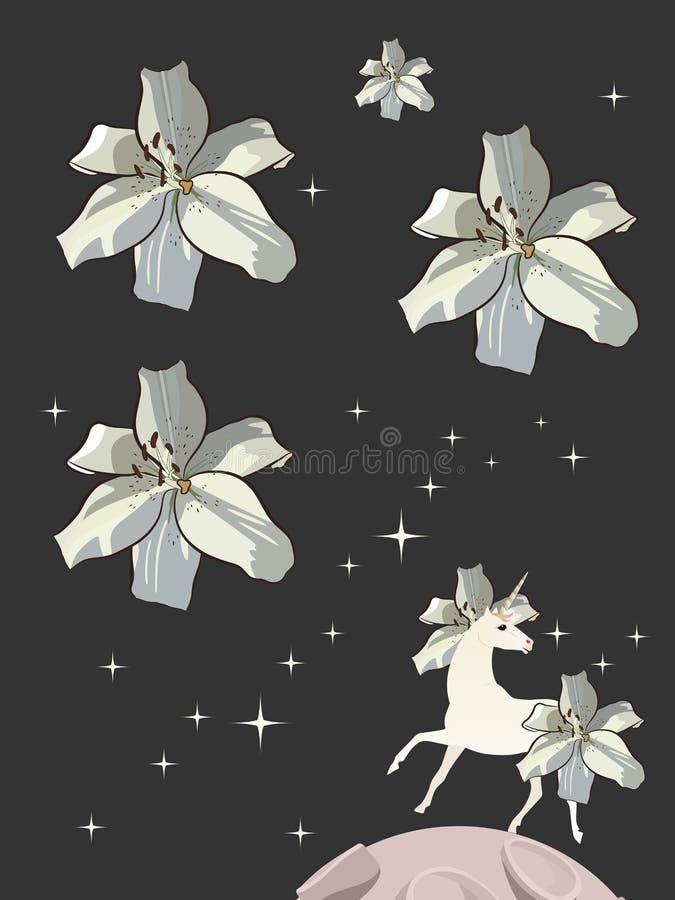 Vit enhörning med man och svansen i form av liljor på bakgrund för natthimmel med att blänka stjärnor i formen av härliga blommor stock illustrationer