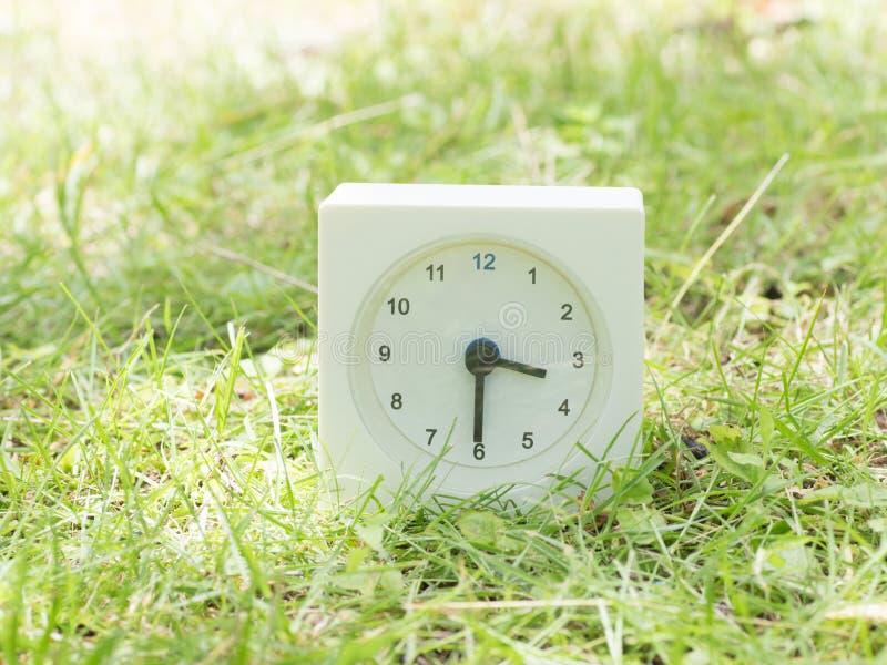 Vit enkel klocka på gräsmattagården, 3:30 tre halva trettio arkivfoton