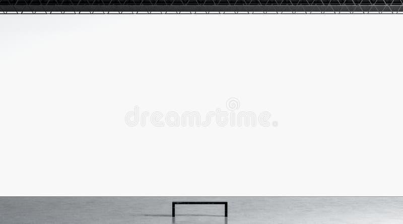 Vit enorm gallerivägg för mellanrum med bänken i museummodell stock illustrationer