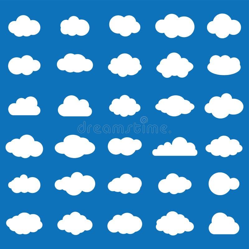 Vit färg för molnsymbolsuppsättning på blå bakgrund Himmellägenhet I royaltyfri illustrationer