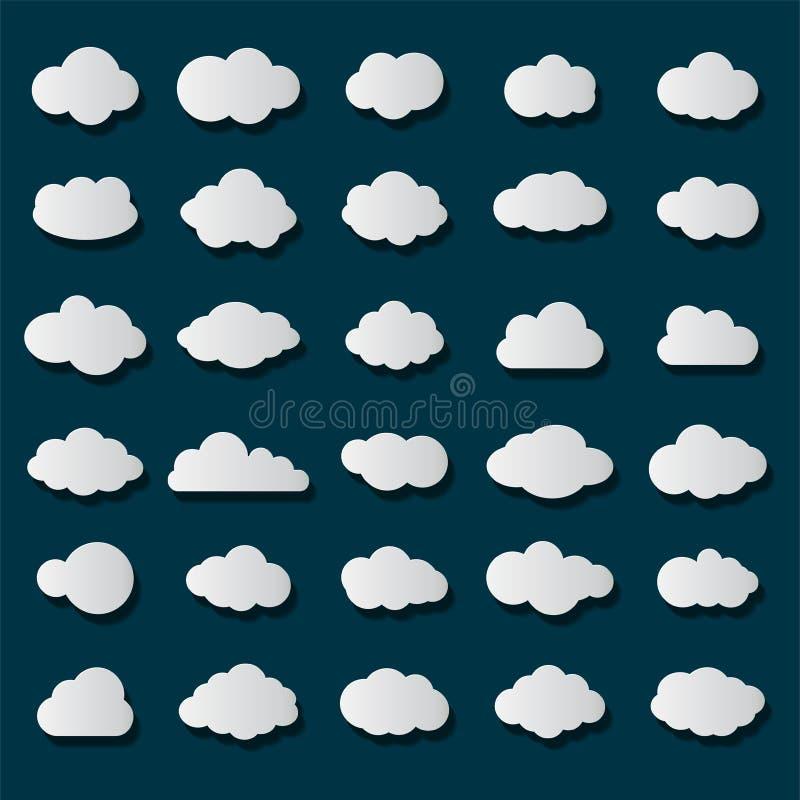 Vit färg för molnsymbolsuppsättning på genomskinlig bakgrund Plan samling för himmel för rengöringsduk också vektor för coreldraw vektor illustrationer