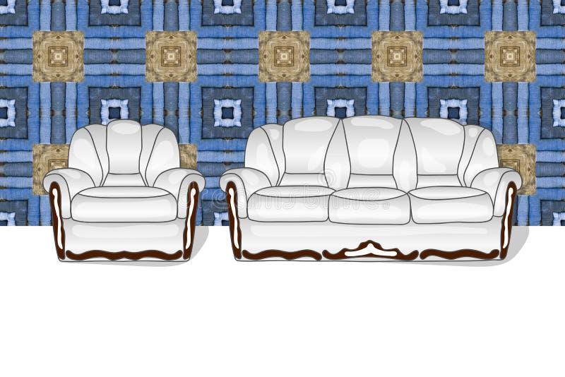 Vit färg för soffa- och stoluppsättning stock illustrationer