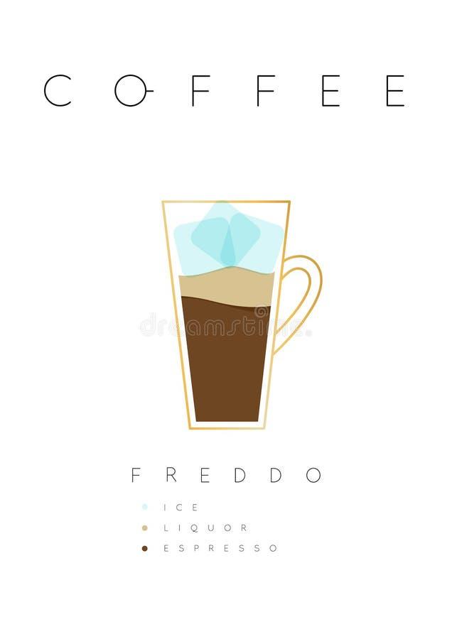 Vit för affischkaffefrappuccino royaltyfri illustrationer