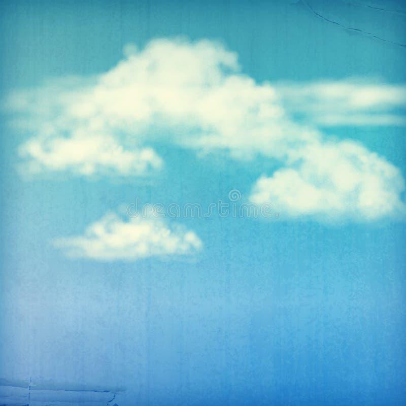 Vit för blå himmel fördunklar tappningbakgrund vektor illustrationer