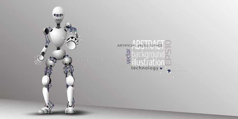 Vit för konstgjord intelligens för robot för bakgrund, vektorclipart royaltyfri illustrationer