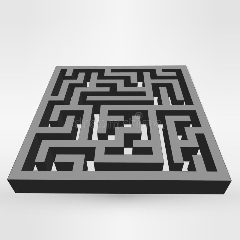 Vit för labyrintlabyrintpussel på grå bakgrund vektor 3d stock illustrationer