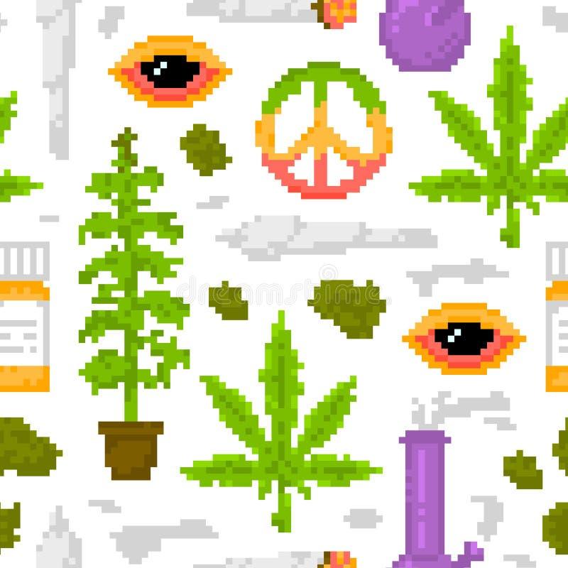 Vit för modell för vektor för medicinskt för marijuana för stil för PIXELkonstlek ogräs för objekt sömlös stock illustrationer