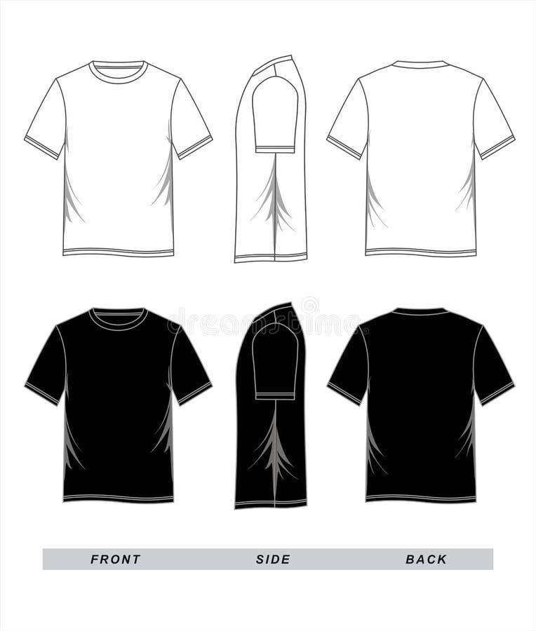 Vit för T-tröjamallsvart, framdel, sida, baksida vektor illustrationer