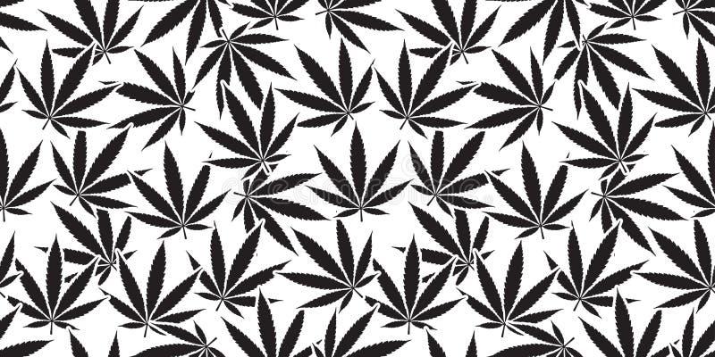 Vit för tapet för bakgrund för modell för ogräsmarijuanacannabis sömlöst blad isolerad royaltyfri illustrationer
