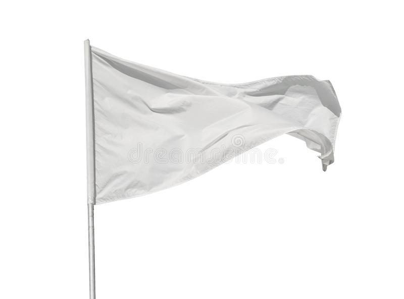 Vit flagga som isoleras på vit arkivfoto