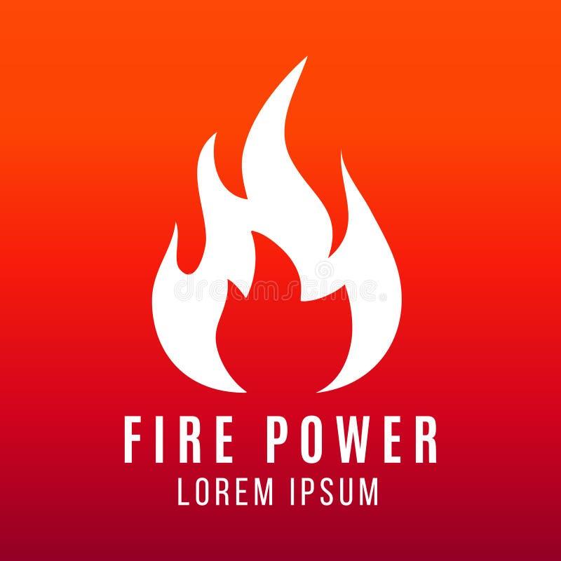 Vit flamma av brandlogodesignen på ljus bakgrund royaltyfri illustrationer