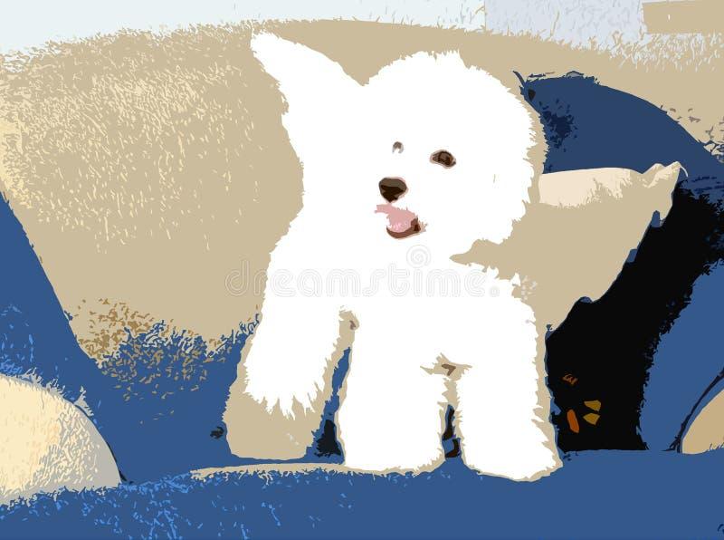 Vit fluffig hund med vingar arkivfoto