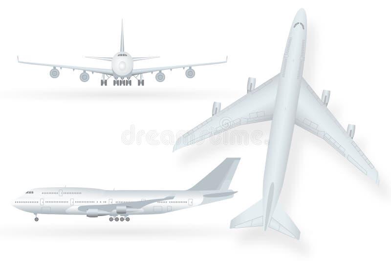 Vit flygplansymbolsuppsättning på en vit bakgrund i profil och framifrån isolerad vektorillustration royaltyfri illustrationer