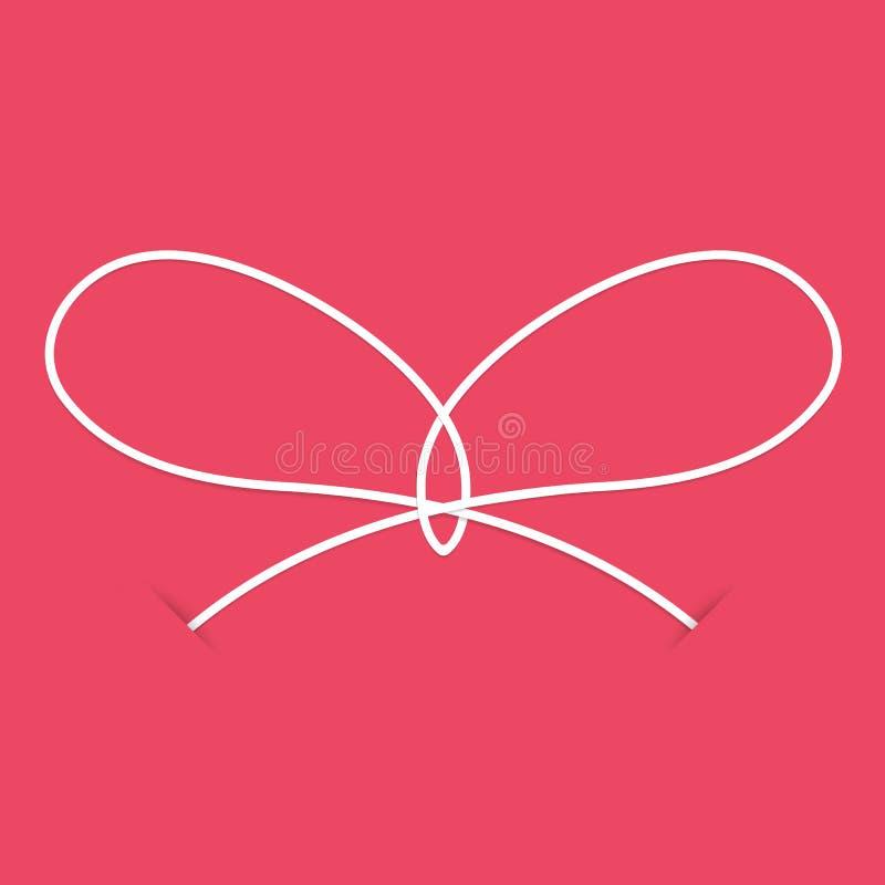 Vit fnuren på en rosa bakgrund stock illustrationer