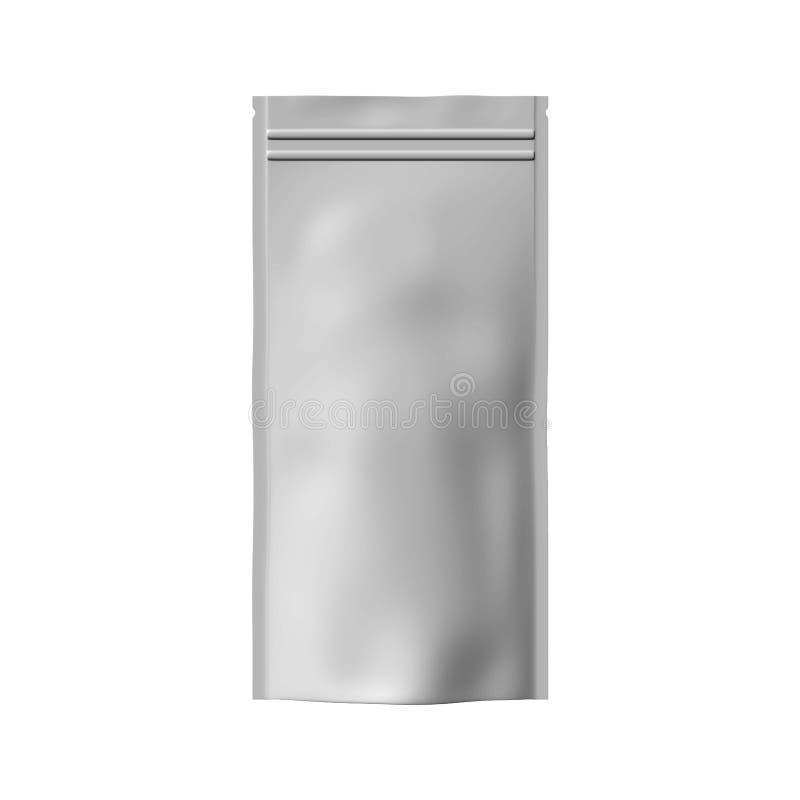 Vit folie- eller pappersmat står upp den snabba banan för mellanmålpåsen Förpackande illustration för tom påse Vektor isolerad ma royaltyfri illustrationer
