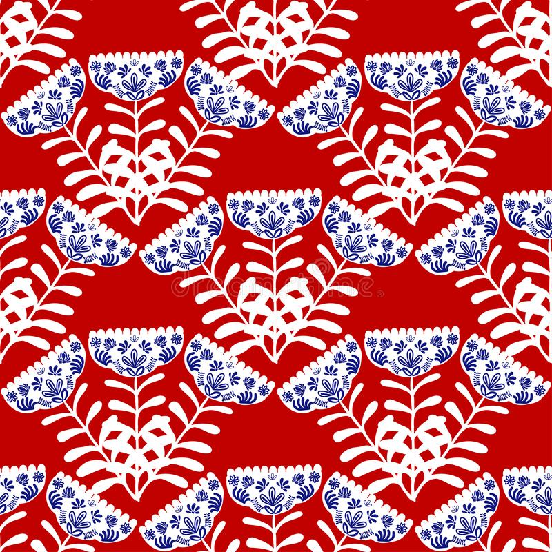 Vit folk-stil blom- bukett på en röd färg royaltyfri illustrationer