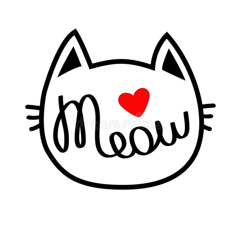 Vit form för katthuvudkontur Jamar bokstävertext Gulligt tecknad filmtecken Röd hjärta papper för förälskelse för bakgrundskortgr vektor illustrationer