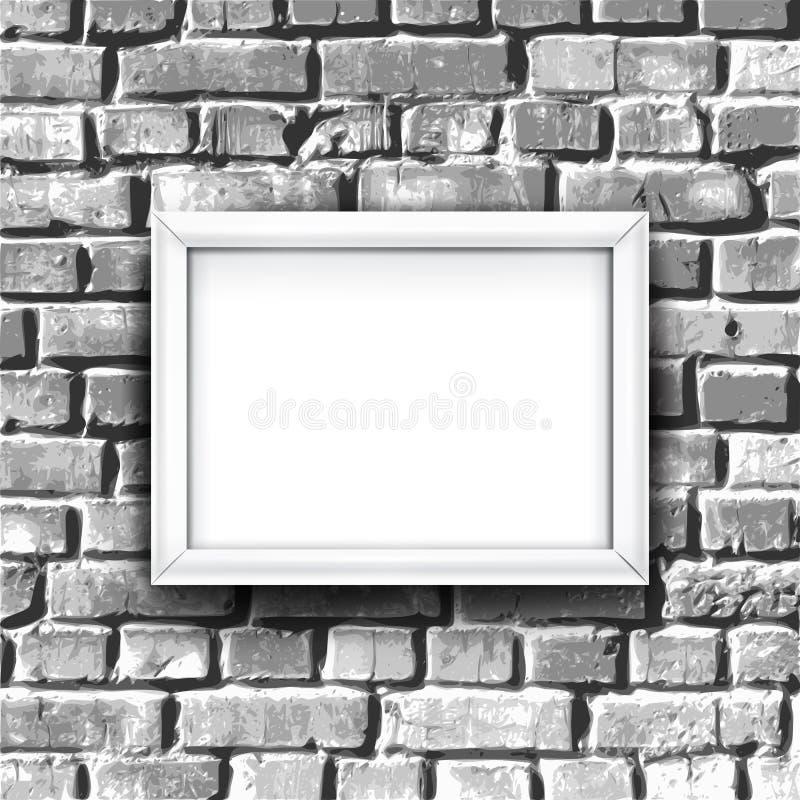 Vit fotoram på tegelstenväggen Det kan vara nödvändigt för kapacitet av designarbete stock illustrationer