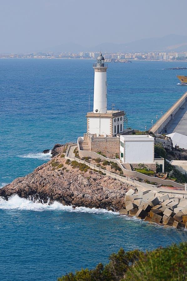 Vit fyr Es Botafoc i Ibiza Balearic Island Soain royaltyfri foto