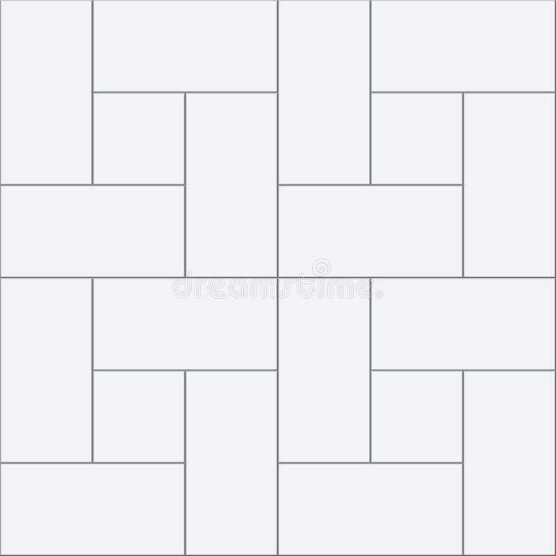 Vit fyrkant och rektangul?ra tegelplattor royaltyfri illustrationer